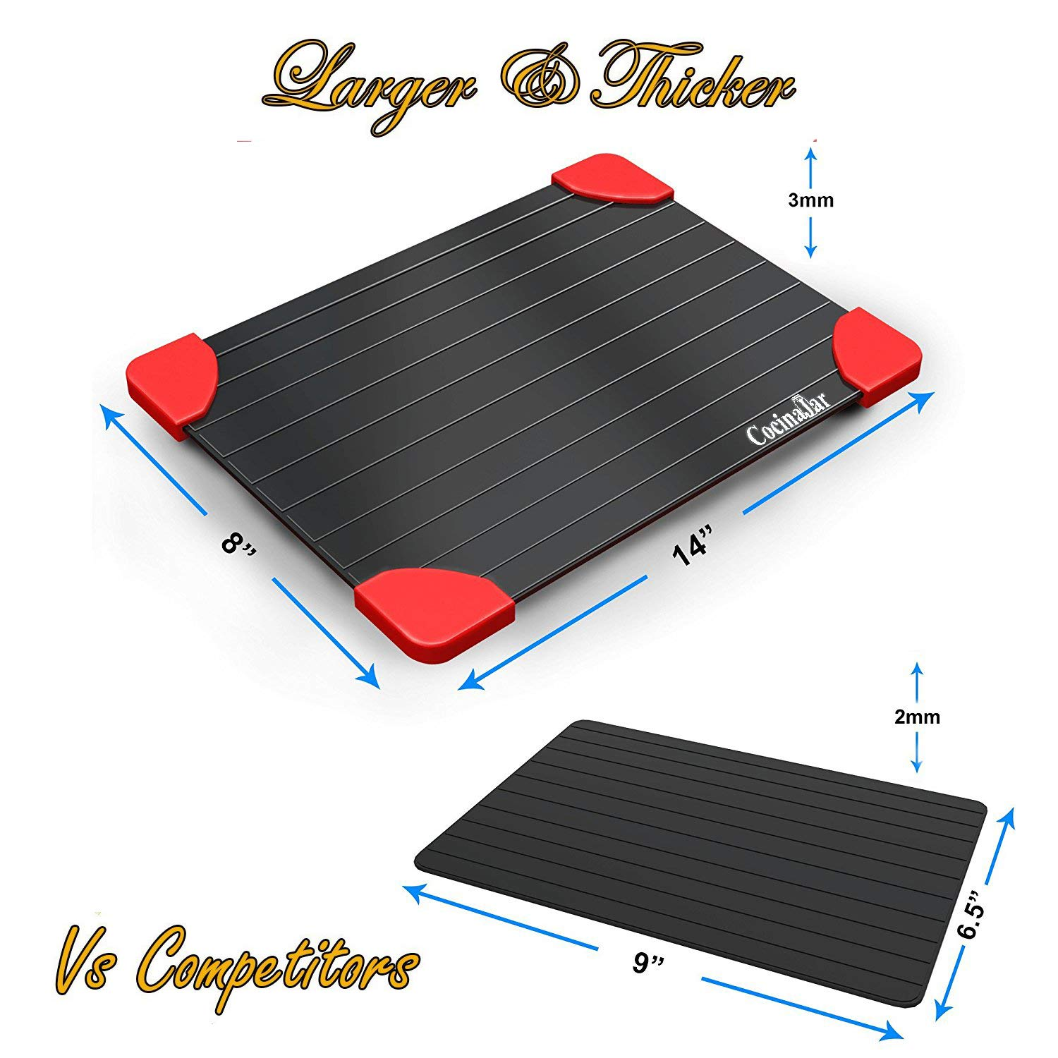 Defrosting Tray - Large Size, Defrost More Meat or Frozen Food Quickly - Thawing Tray with Red Silicone Border - The Safest Way to Defrost Frozen Food - FDA Approved CocinaJar DT-L3