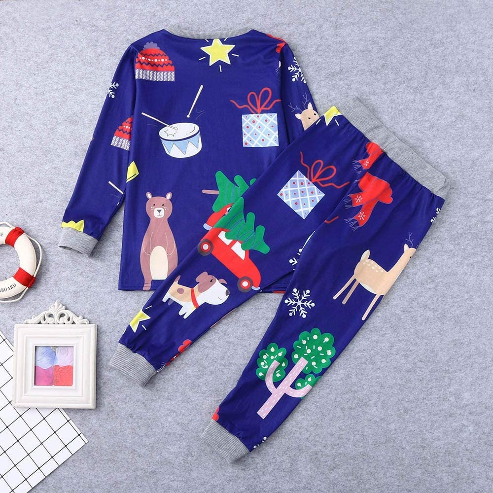 LIKESIDE✿2PCS Christmas Children Cartoon Deer Print Top+Pants Family Pajamas