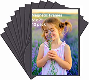 HIIMIEI 12 Pack 5x7 Inch Refrigerator Magnetic Picture Frames with Flexible Magnet Back, No Scratch Black Magnet Photo Pocket with Removable Protected Flim
