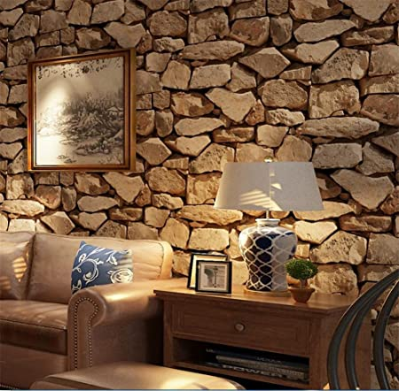 H M Wallpaper Pvc Retro 3d Stereo Imitation Stone Texture Wallpaper