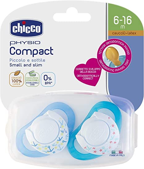 Chicco Physio Compact - Pack de 2 chupetes de látex/caucho para 6 - 16 meses, color azul: Amazon.es: Bebé
