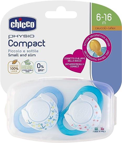 Chicco Physio Compact - Pack de 2 chupetes de látex/caucho para 6 ...