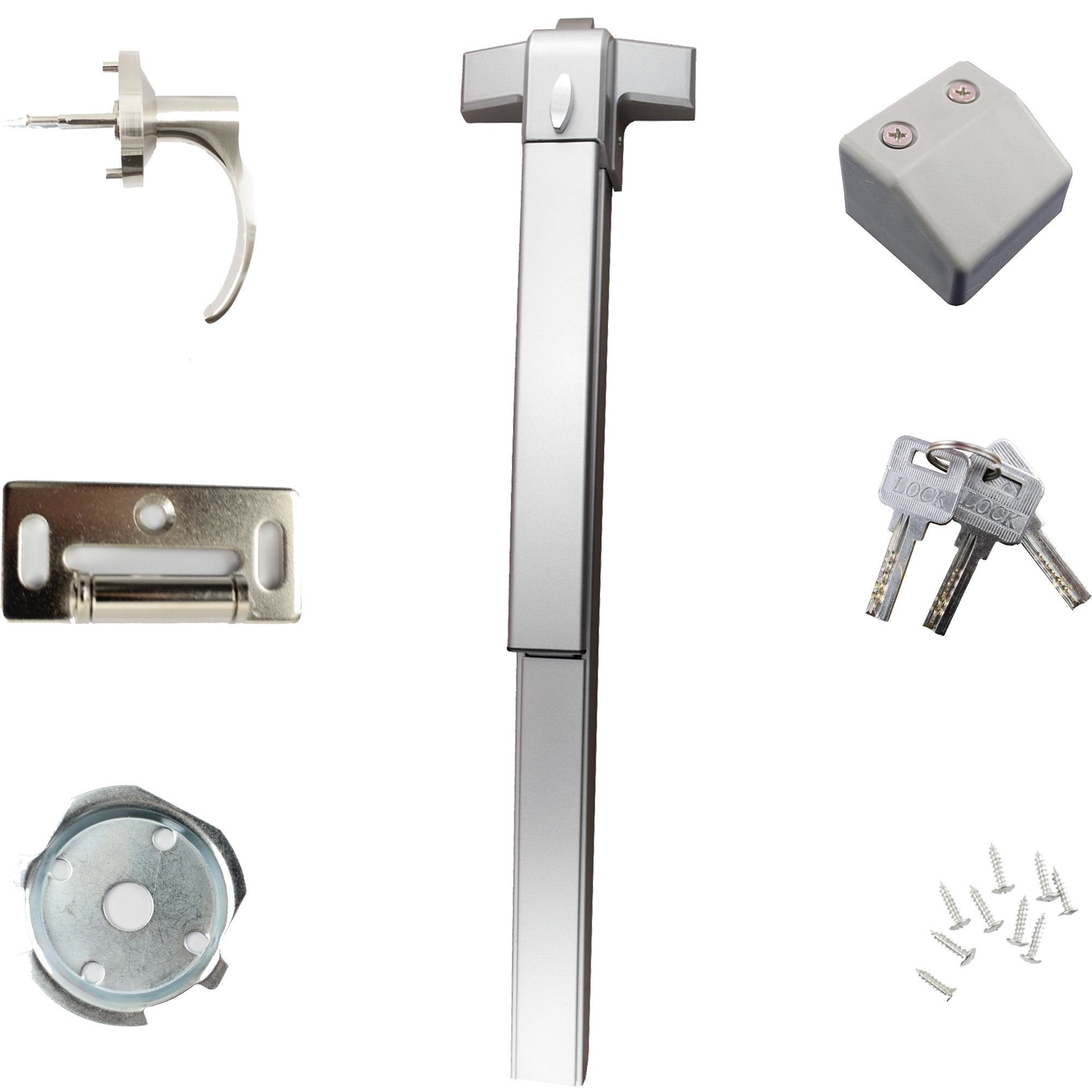 Push Bar Panic Exit Device With Exterior Lever Sprayed Aluminum Suitable for Wood Metal Door - Push Bar with Exterior Lever