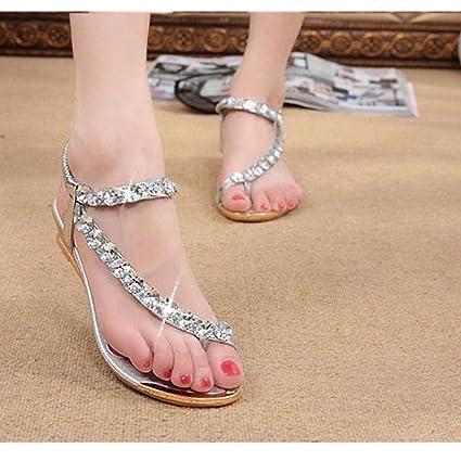 b602c99fb Amazon.com  Hemlock Women Girl Rhinestone Sandals Roman Shoes Flat Sandals  (US 8