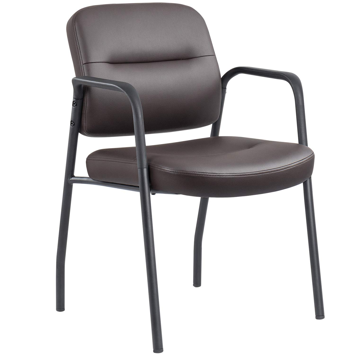 JUMMICO Guest Chair Leather Executive Side Reception Chair Office Waiting Room Chair with Frame Finish Ergonomic Lumbar Support (Black)