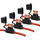 10 Gauge Fuse Holder - 10 AWG Inline Fuse Holder with 40 AMP ATC Blade Fuses (4pack)