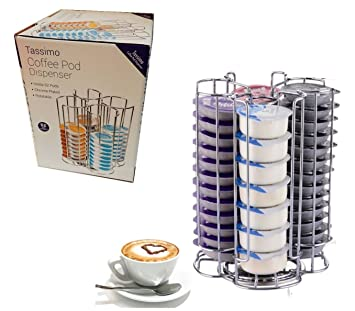 Cromo Pod T-Disc dispensador de soporte para Bosch Tassimo máquina de café, gira por la facilidad de acceso (52 Pod dispensador de torre): Amazon.es: Hogar