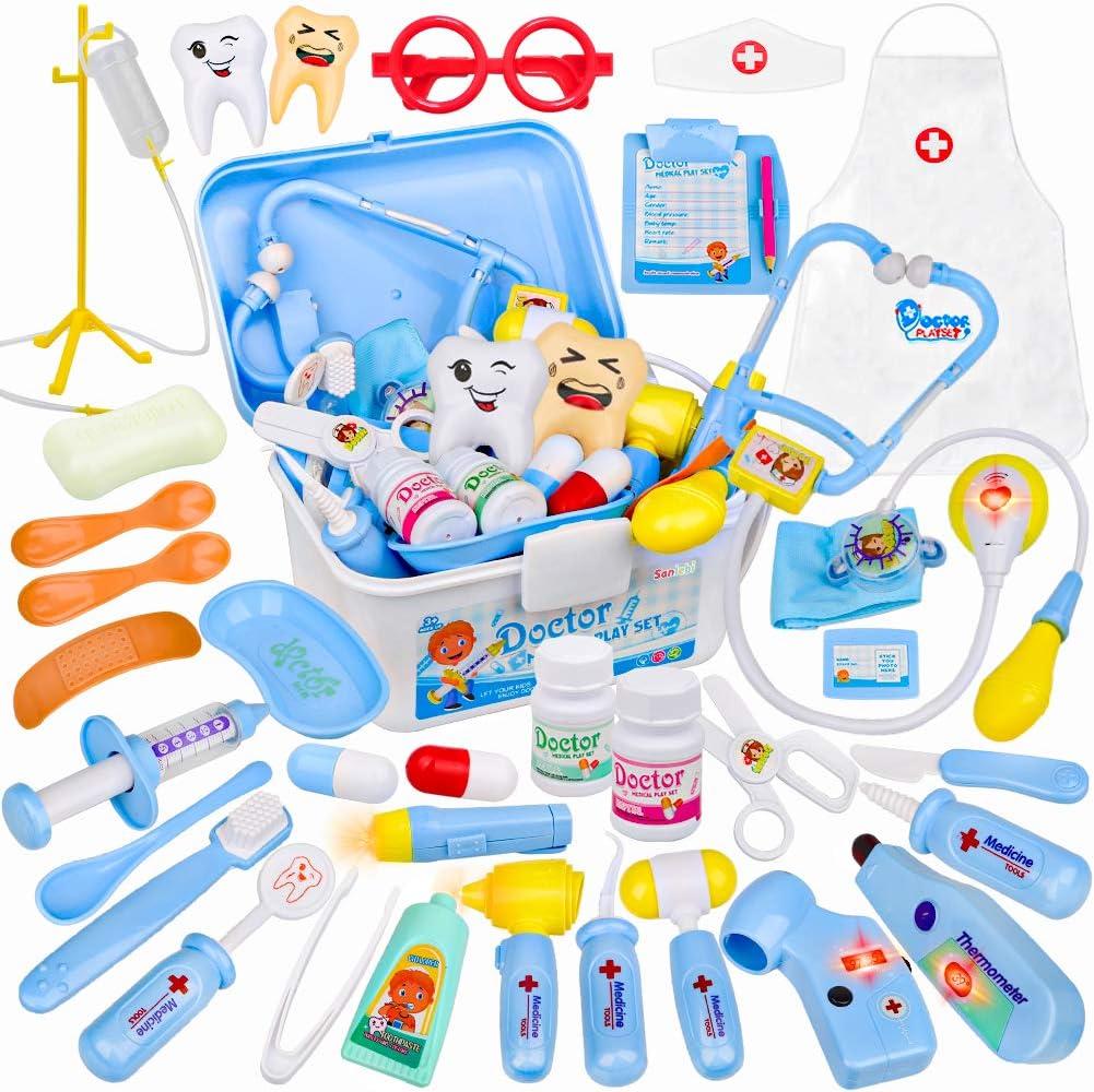 35 Piezas Maletin Medicos Juguete, Doctora Juguete con Estetoscopio Disfraz Enfermera Set Medico Regalos Juguetes para Niños de 3 Años(Azul)