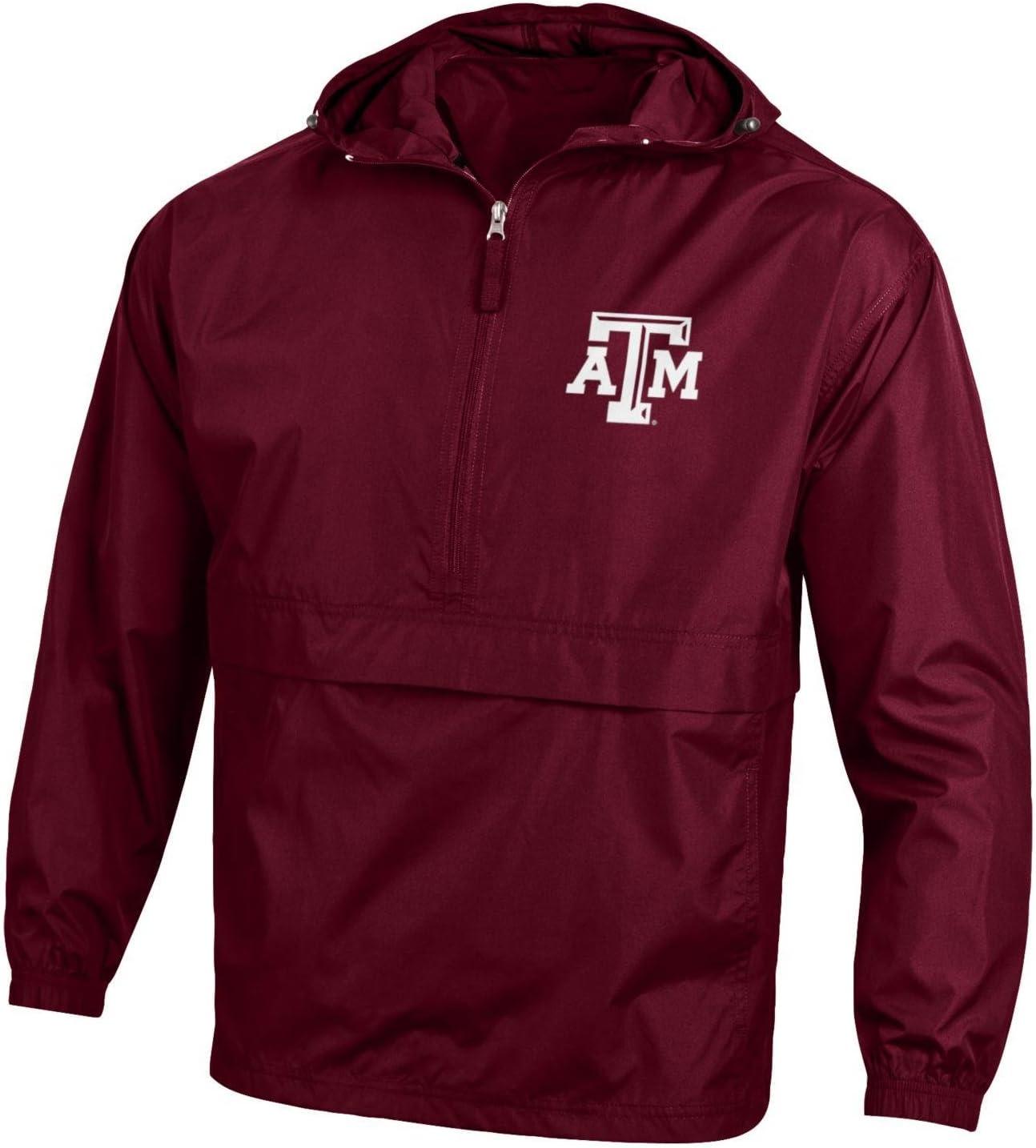 Champion NCAA Mens NCAA Mens Half Zip Front Pocket Packable Jacket