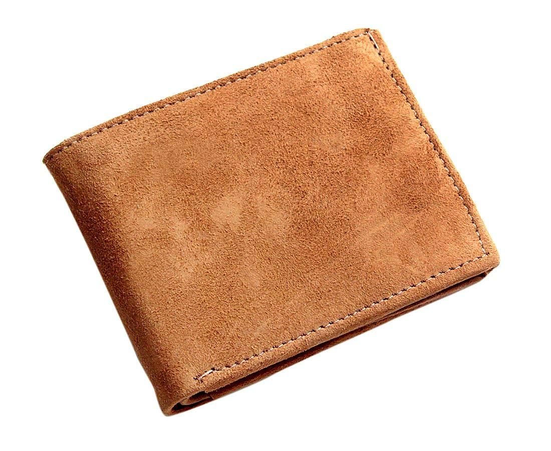 Men boys genuine leather wallet Cream Tan Beige Smart Casual Unisex Purse, Beige, One Size