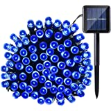 Qedertek Solar String Light, 33ft 100 LED 8 Modes Light Sensor Control Waterproof Decorative Ambiance Light For Patio, Lawn, Garden, Fence, Balcony, Party, Holiday, Christmas Decorations(Blue)