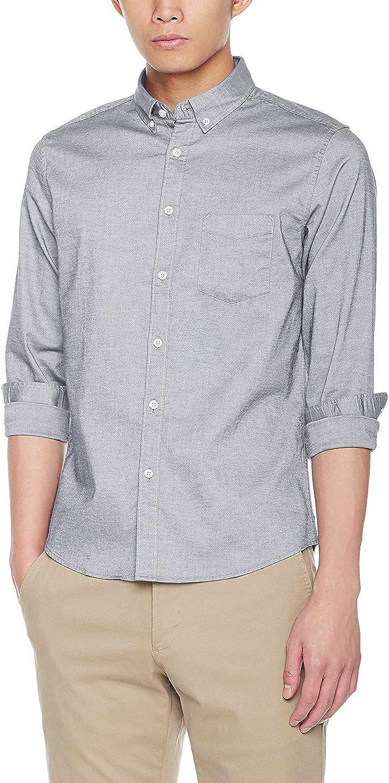 UUYUK Men Regular Fit Over Size Twill Long Sleeve Button up Dress Shirts