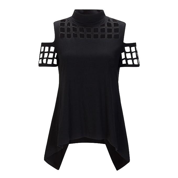 Beauty7 40 Camisas Mujeres Asim¨¦trico Sin Tirante Hueco Mangas Corta Camiseta Off Hombro