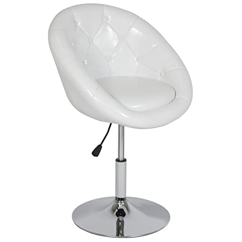 Best Choice Products Round Tufted Back Tilt Chrome Adjustable Swivel Accent Chair Hydraulic Lift Wht