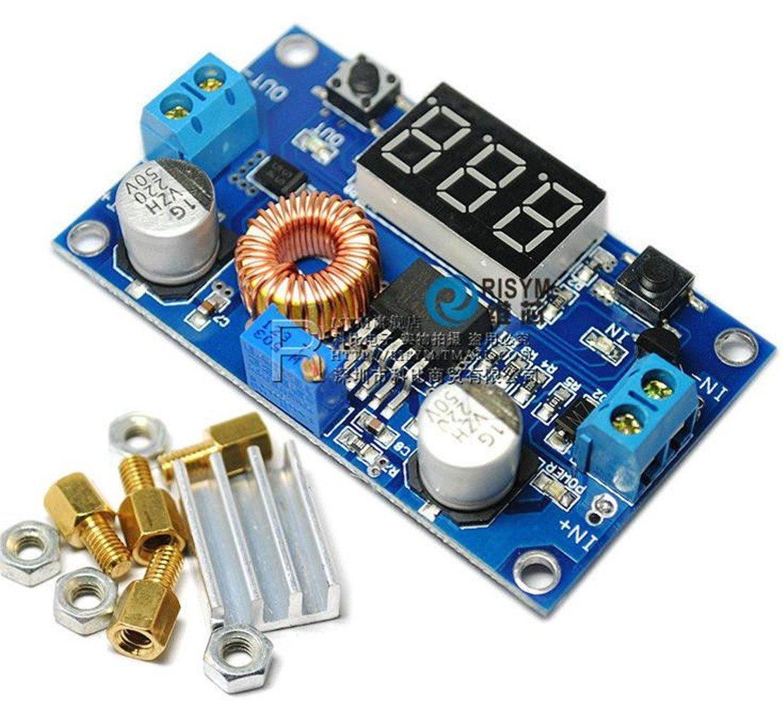 QIXINSTAR 2PCS 5A Adjustable Power DC-DC Step-down Charge Module LED Driver + Voltmeter