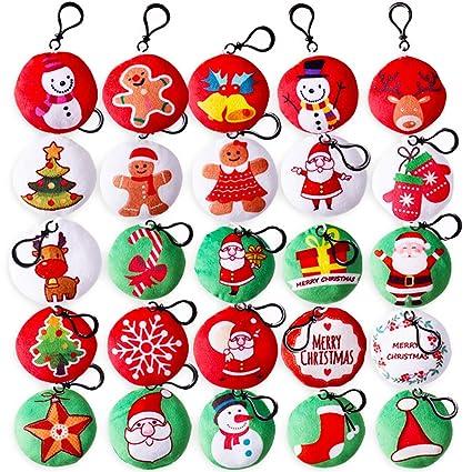 Gudotra 25 Piezas Mini Llavero de Navidad Llavero de Felpa Navideña para Decoraciones para Árboles de Navidad (25pcs)
