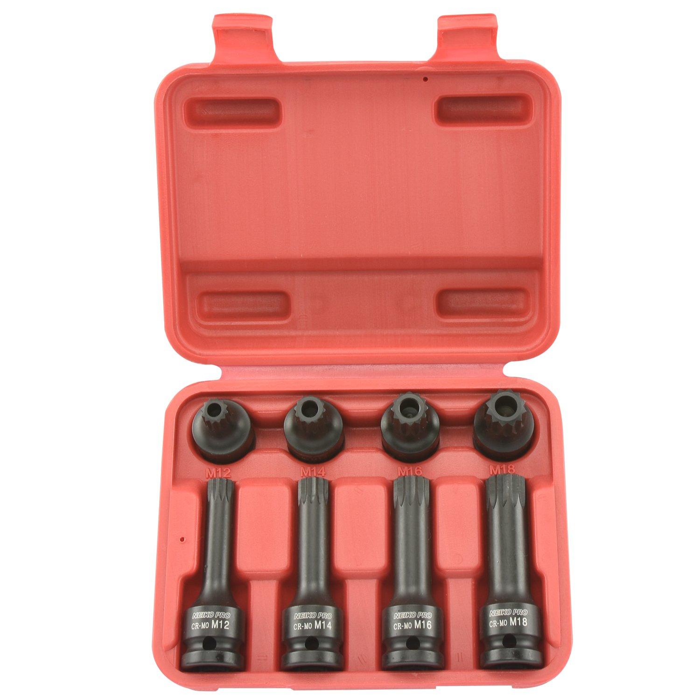 Neiko Pro 10283B 1/2-Inch Drive XZN Triple Square Spline Driver Impact Socket Set | 8-Piece Set
