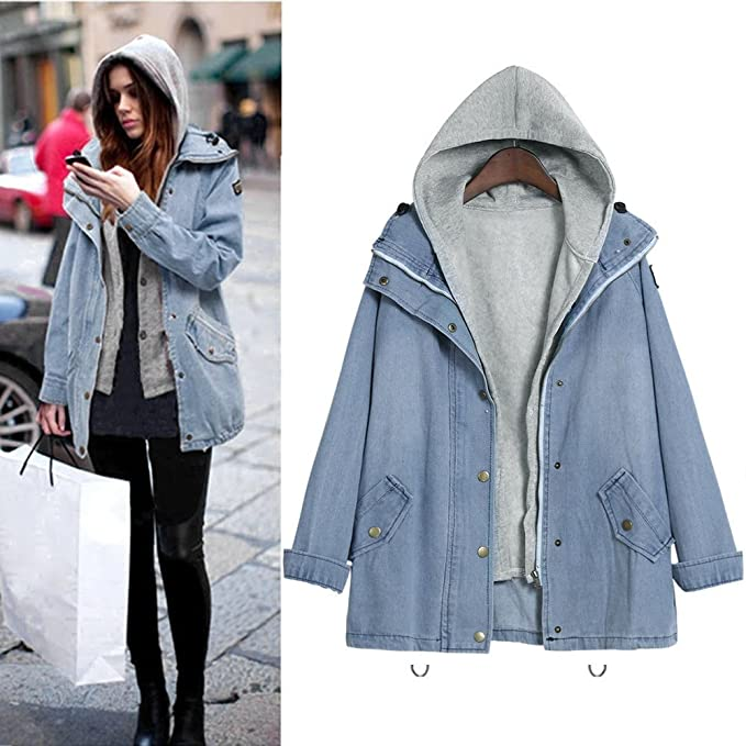 Amazon.com: Pengy Clearence Womens Hooded Drawstring Boyfriend Trends Jean Swish Pockets Two Piece Coat Jacket Denim Parka Coat Outwear: Clothing