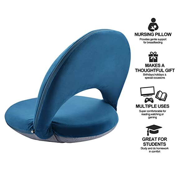 ... Chair Foldable Mediation Seating Suede-Like Fabric Multiangle Cushioned Recliner for Adults Kids Video-Gaming Reading Watching, Navy: Kitchen & Dining