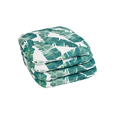 BrylaneHome Set of 4 Stacking Chair Pads, Banana Leaf : Garden & Outdoor