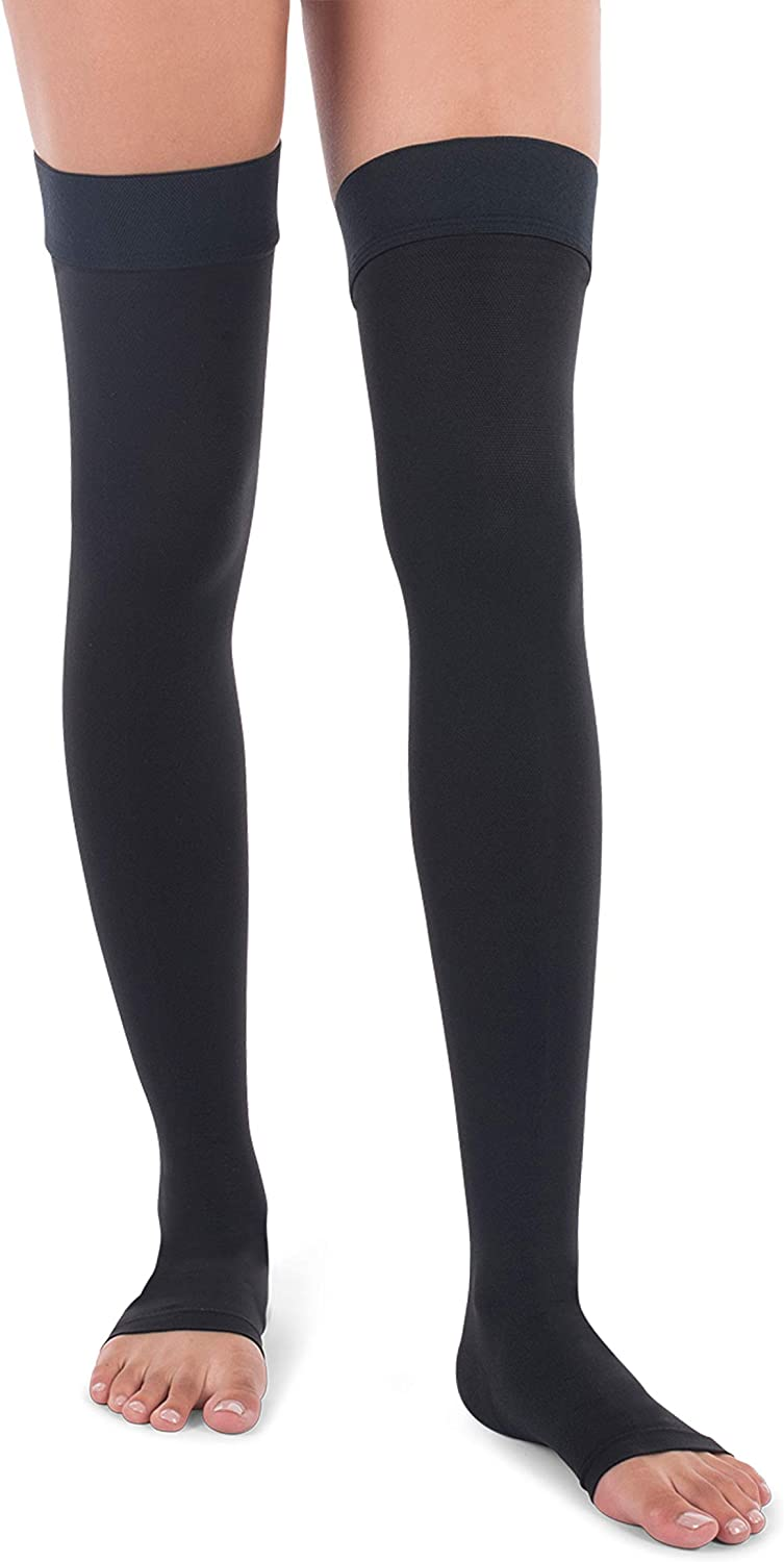 Jomi Compression Thigh High Collection 20-30mmHg Surgical Weight Open Toe 241 Medium, Black