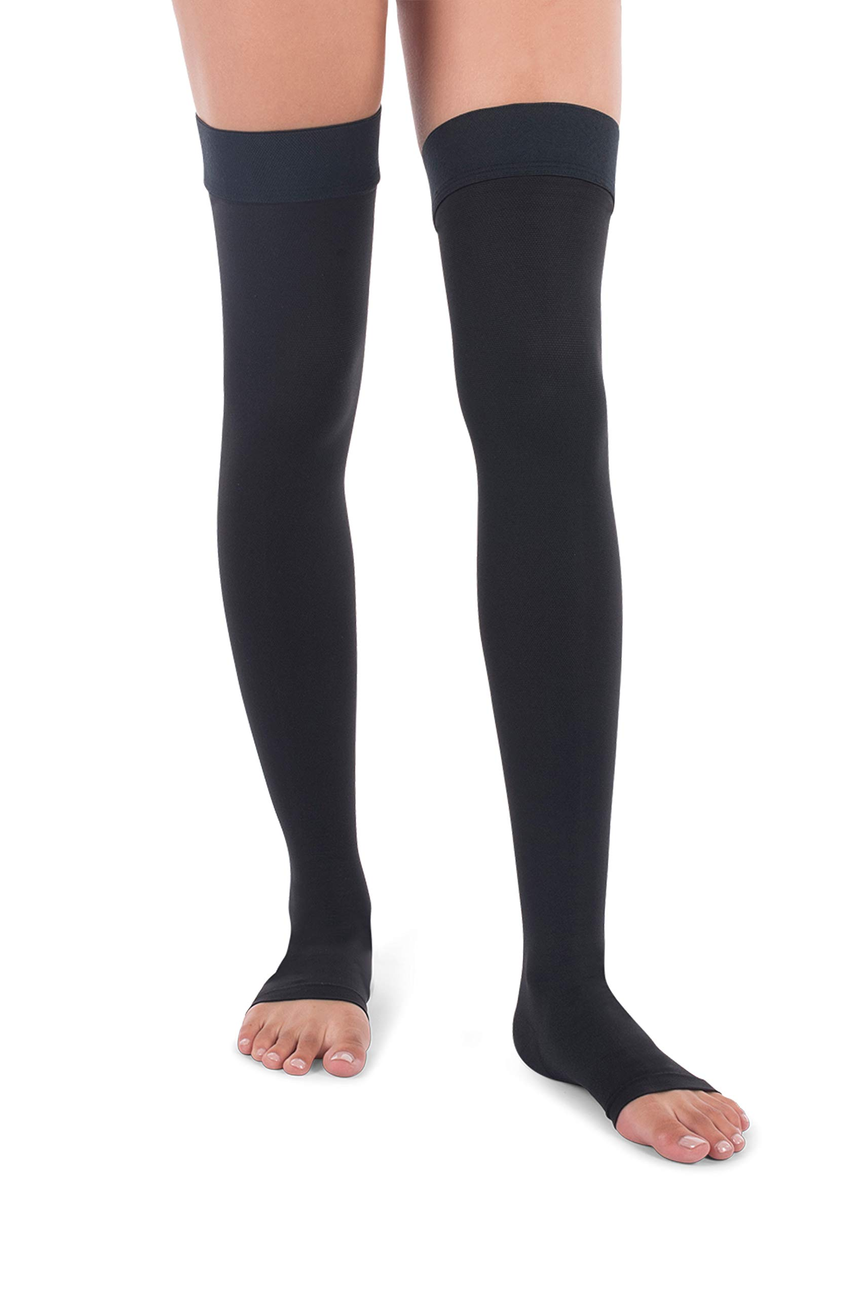 Jomi Compression Thigh High Stockings Collection, 30-40mmHg Surgical Weight Open Toe 341 (Small, Black)
