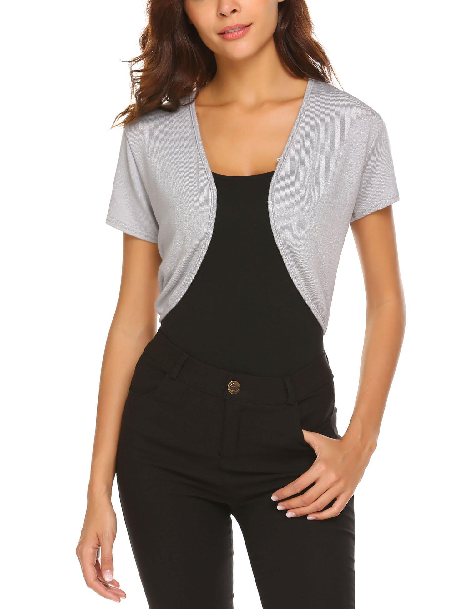 Donkap Women Basic Short Sleeve Versatile Bolero Shrug Cardigan,Gray, XL