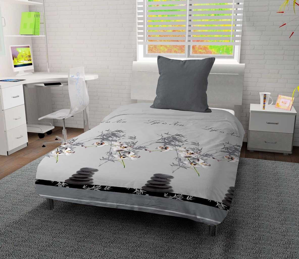 Intemporel Valence Couette Imprim/ée Orchid/ée 140x200 cm Gris Polyester