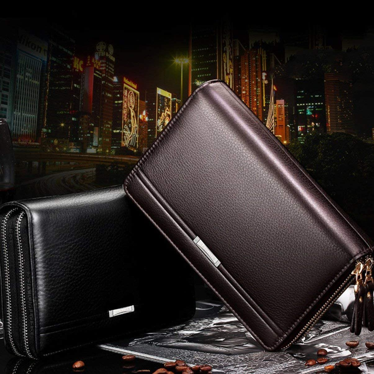 FHJZXDGHNXFGH-FR Hommes /à la mode Clutch Bag Long Purse Leather Wallet Lichee Motif Sac /à main Double Fermetures /À Glissi/ère M/âle Sac Pour Travailler Shopping