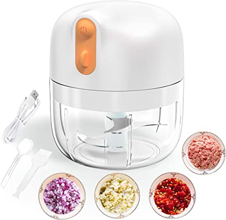 Garlic Chopper Press Food Chopper Processor Quick Hand Pull Mini Meat Grinder 9