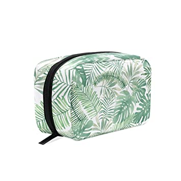 906b4de6d419 Amazon.com : MAPOLO Tropical Green Leaves Handy Cosmetic Pouch ...