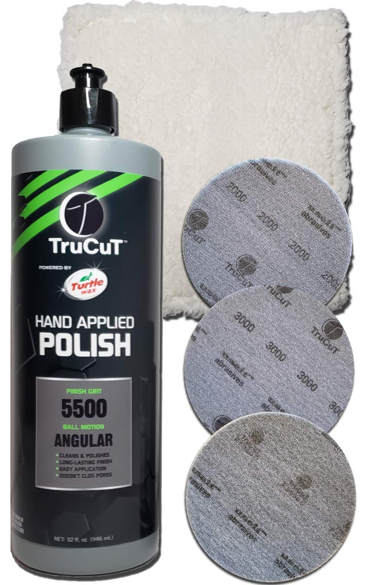 Creating the Difference TruCut Polish Pack | 32 oz TruCut Hand Applied Polish | 6'' TruCut Sanding Pads | 2000, 3000, P5000D grit | CTD Polishing Pad
