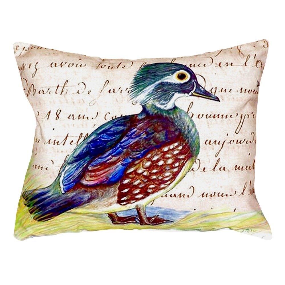 Betsy Drake NC149B Female Wood Duck Script No Cord Pillow,,16'' X20''