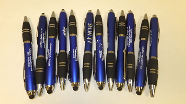 12 Lot Misprint Ink Pens with Soft Tip Stylus for Touch Screen, Thick Blue  Barrel