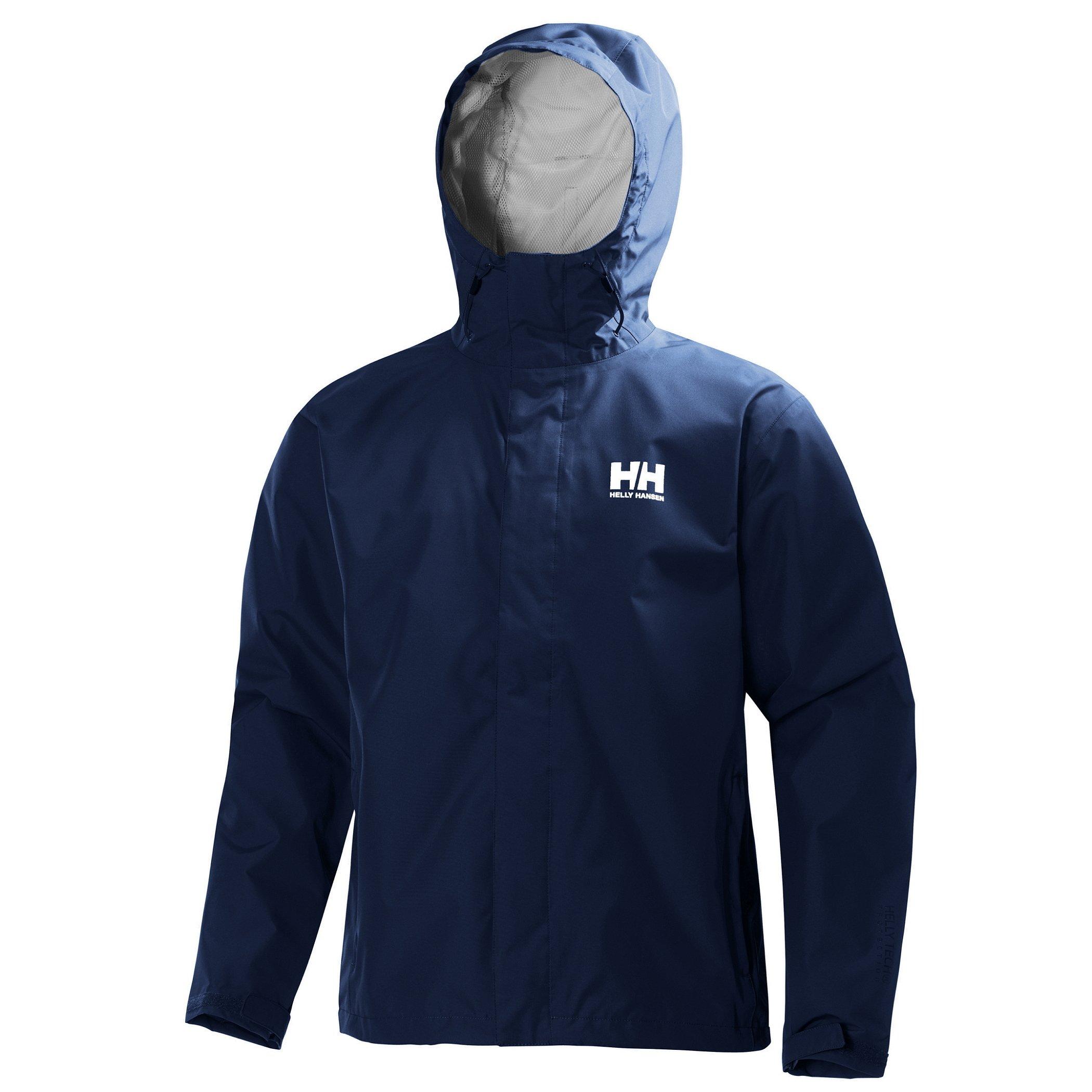 Helly Hansen Men's Seven J Waterproof Windproof Breathable Rain Coat Jacket, 596 Navy, Large