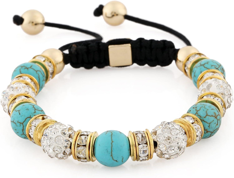 Morella Pulsera con Perlas de Piedras y Strass de circonita de Color Dorado, Ajustable para Damas