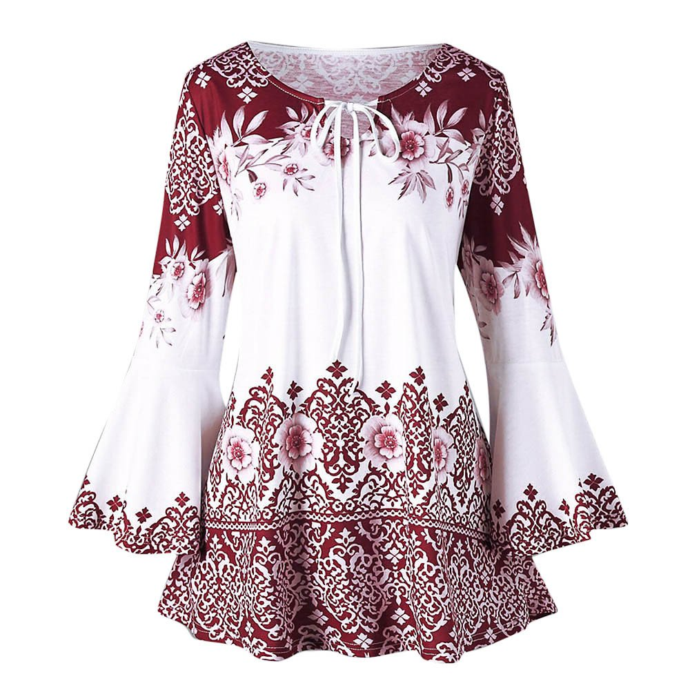 JiaMeng Blusa Mujer Camisa De Manga Larga Camisas Tallas Grandes de la Llamarada Impresa del Tama?o Extra Grande de la Manera Blusas Camisetas del Ojo de la ...