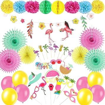 Easy Joy Summer Decoration Party Kit Jaune Vert Rose Flamant Rose Guirlande  Ballon Deco , Happy Summer Photobooth + Cake Topper Inclus, 26 pcs