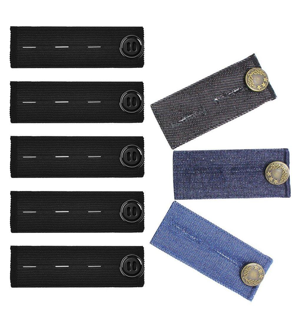 8 Pack Waist Button Extenders Set, GreeStore 5 Pack Elastic Pregnancy Pants Extender + 3 Pack Waist Extender for Jeans, Waist Button Extenders for Trousers Skirts Jeans