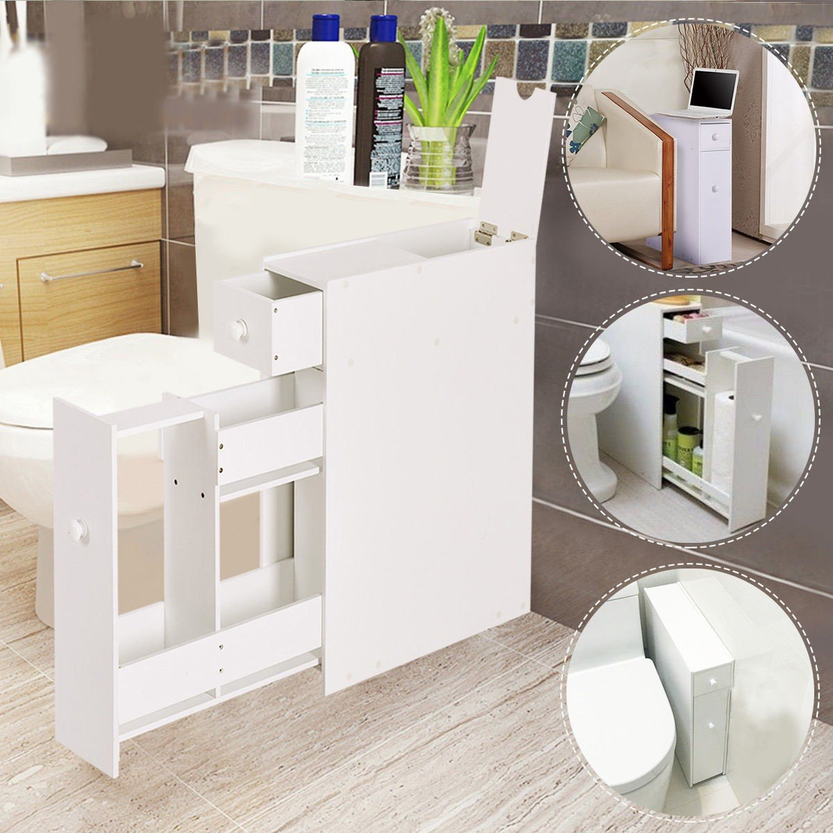 LordBee New White Bathroom Cabinet Space Saver Storage Organizer MDF Small Size Stylish Modern Nice Chic Decor Furniture Home Towels Shampoo Bottles by LordBee (Image #2)