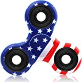 Wowstar Tri-Spinner Fidget Toy EDC Focus Toy with the New Technology Silent Soft-Closing Bearing (USA Flag)