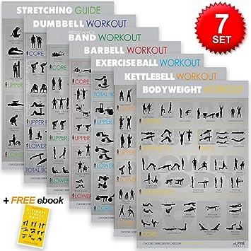 amazon com alpine fitness 7 exercise fitness posters 30 x20