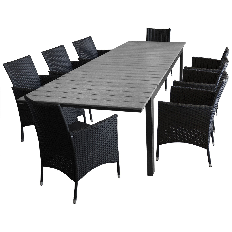 Gartentisch ausziehbar kunststoff  9tlg. Gartengarnitur Sitzgruppe Gartentisch, ausziehbar, Polywood ...