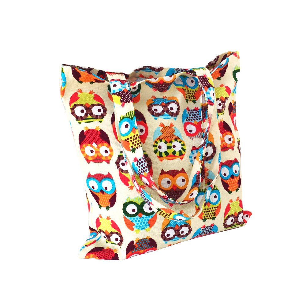 Nuni Women's Cute Owl Print Cotton Canvas Tote Bag (Colorful Owl/ No closure/ No lined)
