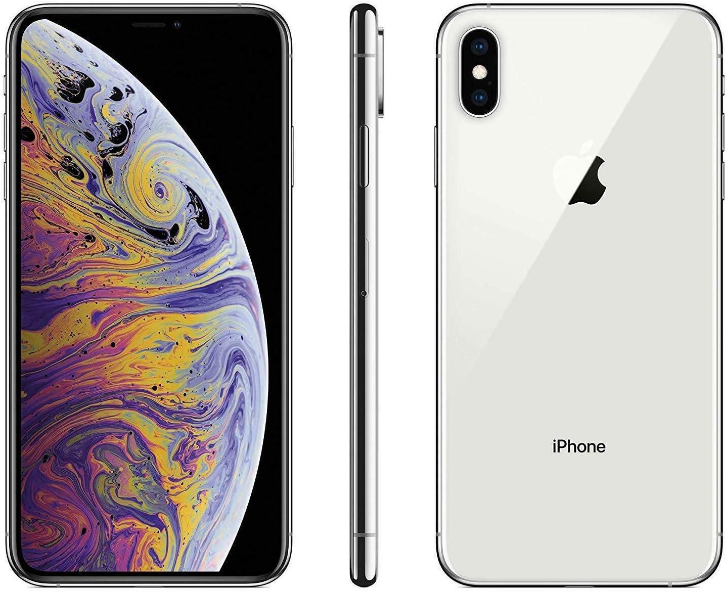 Apple iPhone XS Max, 256GB, Silver - Fully Unlocked (Renewed)