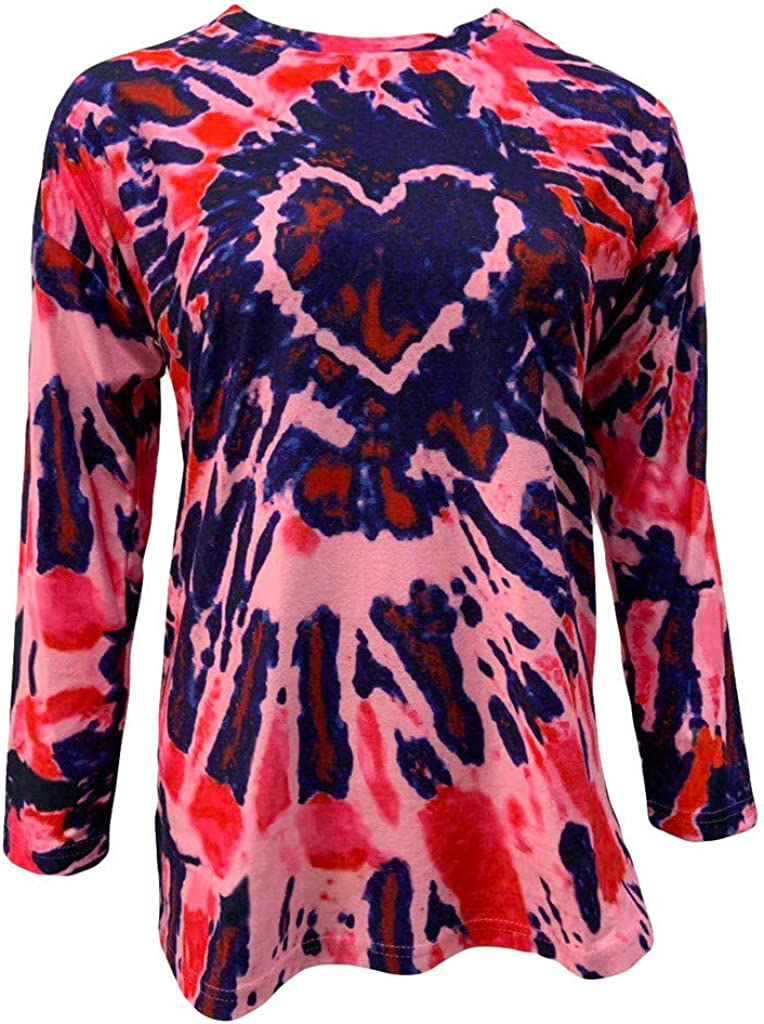 Womens Long Sleeve Shirts Fall Heart Shape Tie Dye Tops Casual Loose Pullover Crewneck Tunic Tops Plus Size.S-5XL