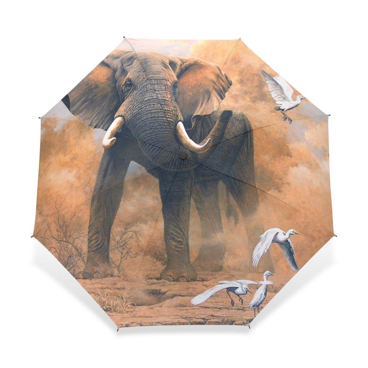 baihuishop防風ゴルフ傘、コンパクトで旅行for Easy Carryingスポーツ雨傘 – 強力なフレーム壊れない象アートパターン   B01FXH9K6E