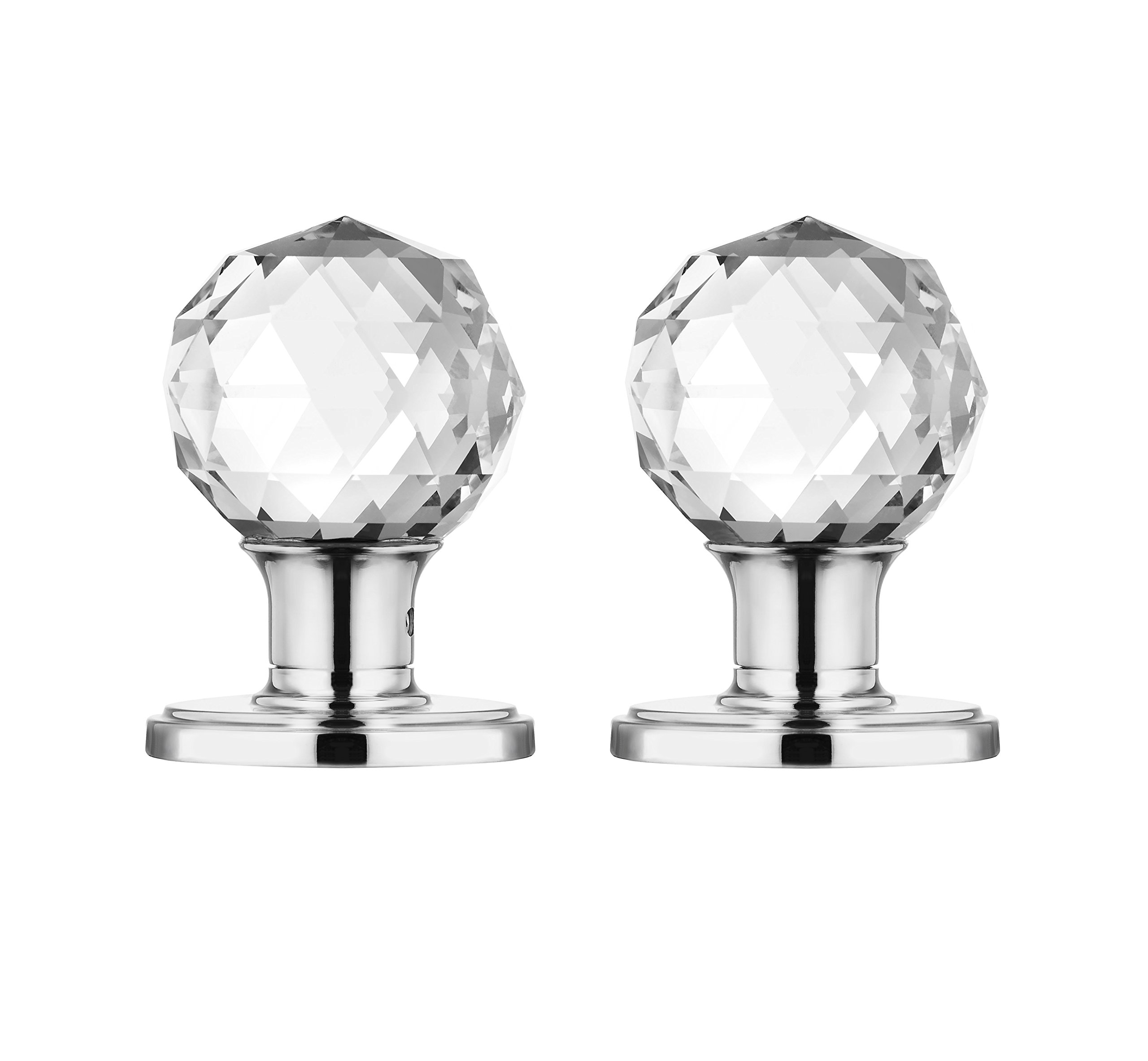 Decor Living, AMG and Enchante Accessories Faceted Crystal Door Knobs with Lock, Privacy Function for Bed and Bath, IRIS Collection, Polished Chrome by DECOR LIVING (Image #7)