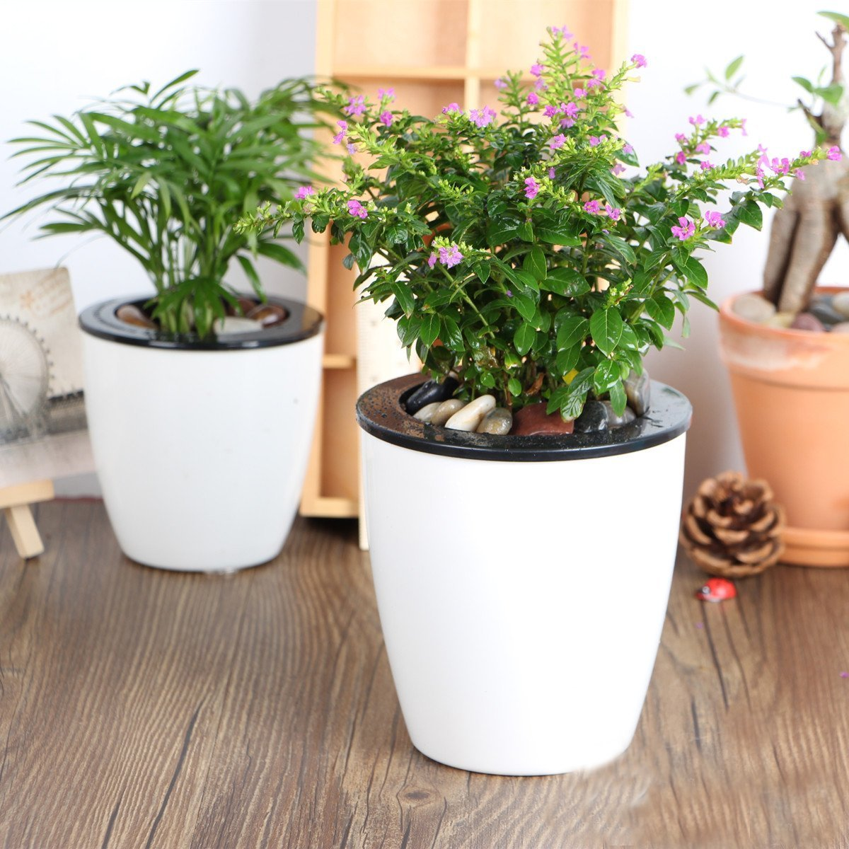 Mkouo 3 Pack Self Watering Planter White Plastic Flower Plant Pot, 12(Dia) x 11(H) cm, 3 Size/S