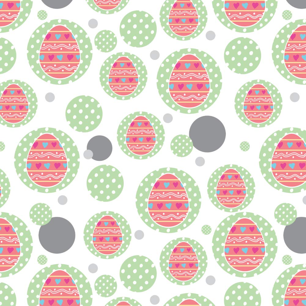 GRAPHICS & MORE Cute Easter Egg Pink with Hearts Premium Gift Wrap Wrapping Paper Roll